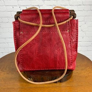Hand Crafted Red Textured Leather Tote Bag Purse *